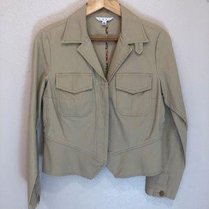 CABI  #892 Fitted Peplem Jacket Tan Chamois Cotton